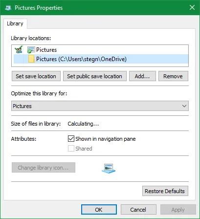 Windows Edit Library Locations