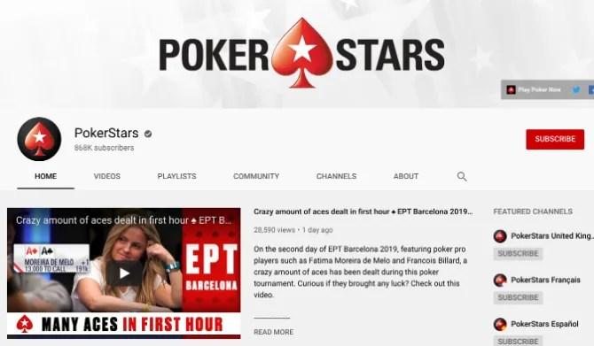 PokerStars - лучший канал на YouTube для бесплатного просмотра покерных видео онлайн