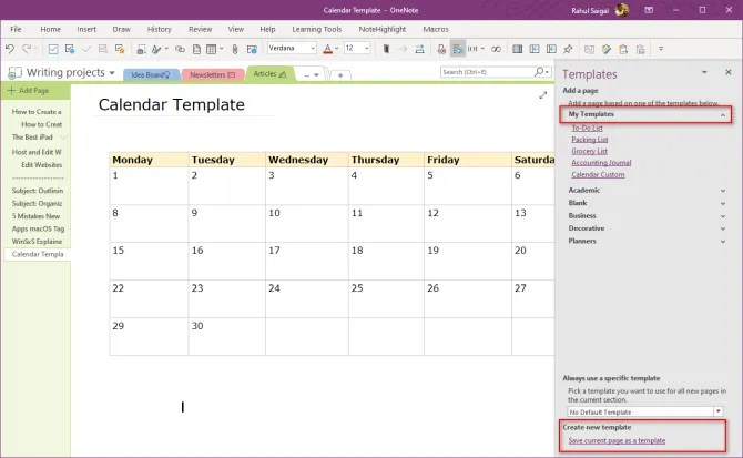 edit the existing template in OneNote 2016