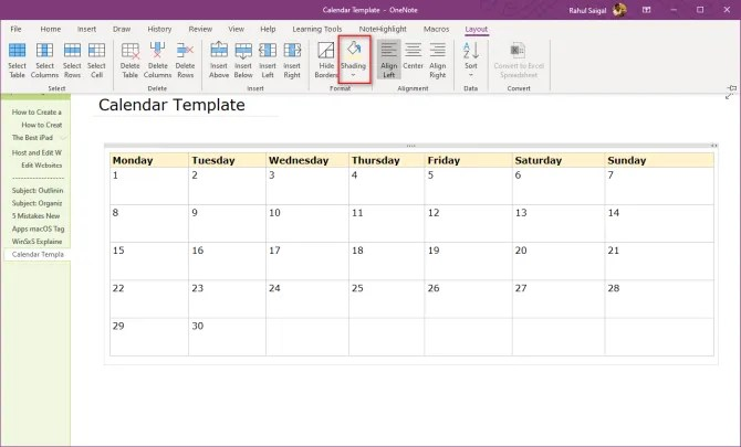 format the table in OneNote 2016