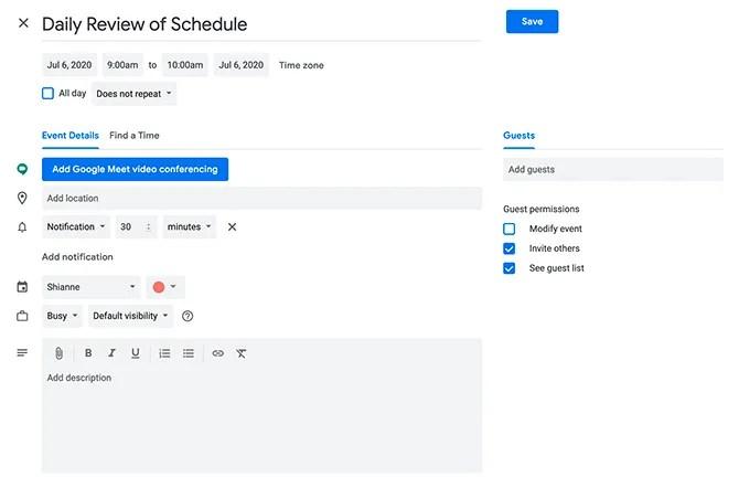 Блок времени в Календаре Google, редактируя событие