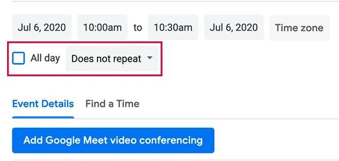 Настройка повторения событий Календаря Google