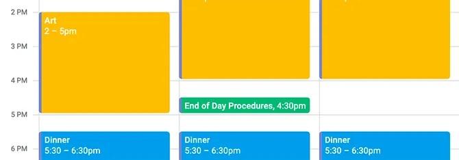 Как заблокировать время в календаре Google на конец рабочего дня