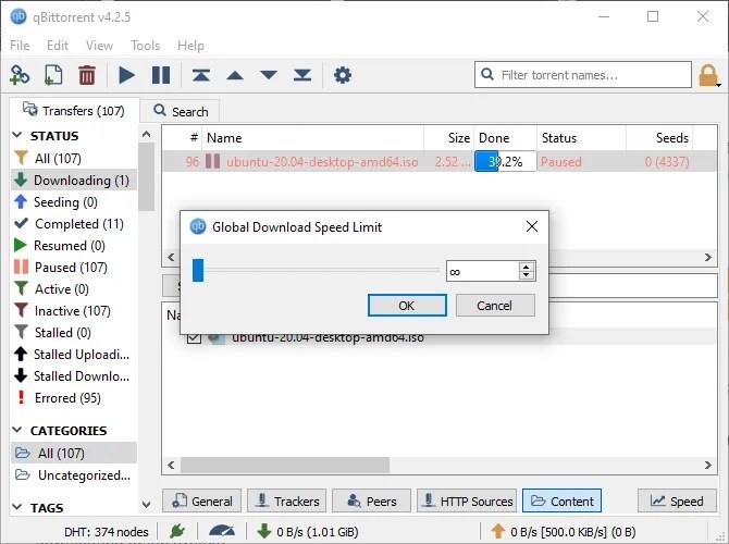 qbittorrent ограничения скорости загрузки