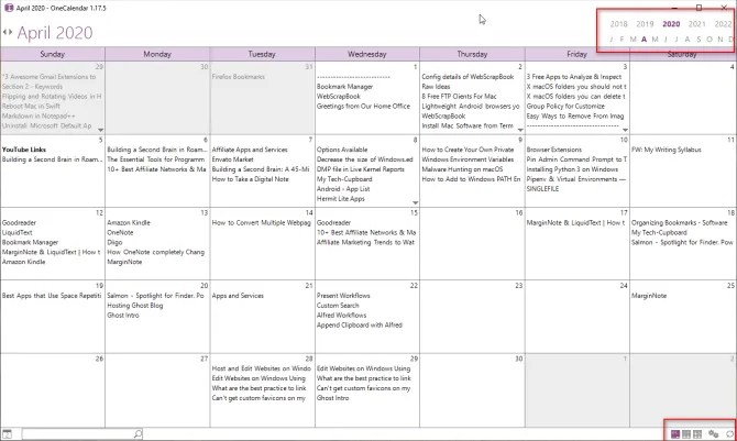using OneCalendar in OneNote 2016