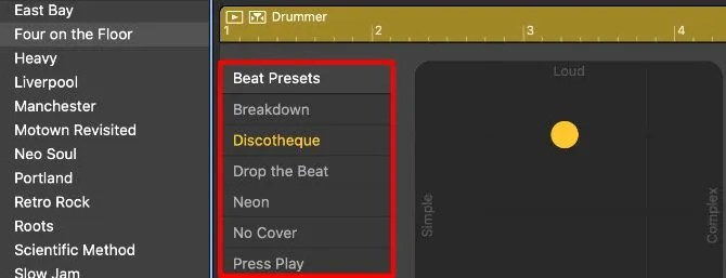 Beat Presets in the Drummer Editor Window