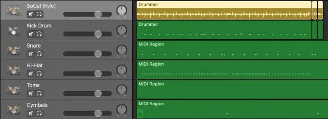 Drummer region turned into separate MIDI drums