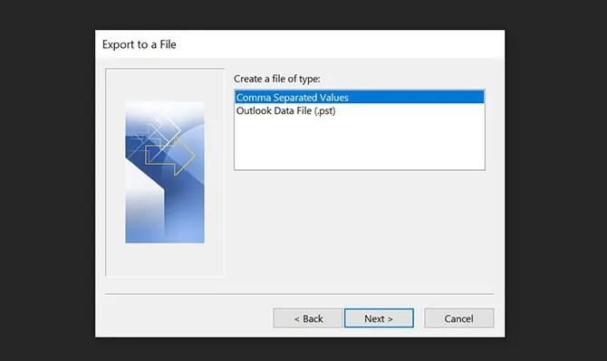 экспортировать электронные письма Outlook в CSV
