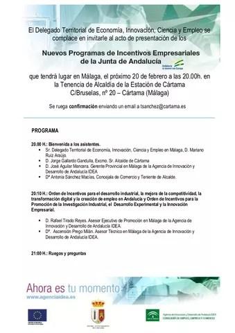 Jornada de presentación de los nuevos programas de incentivos empresariales de la Junta de Andalucía 200218