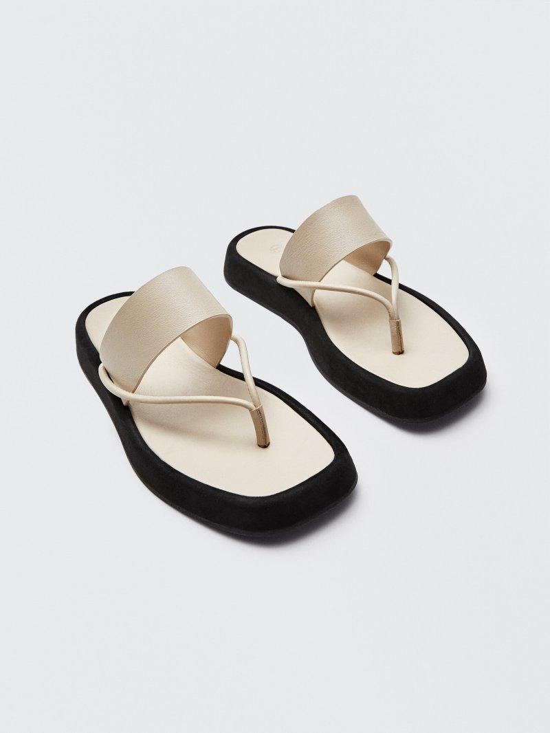 Ecru Leather Platform Sandals Massimo Dutti