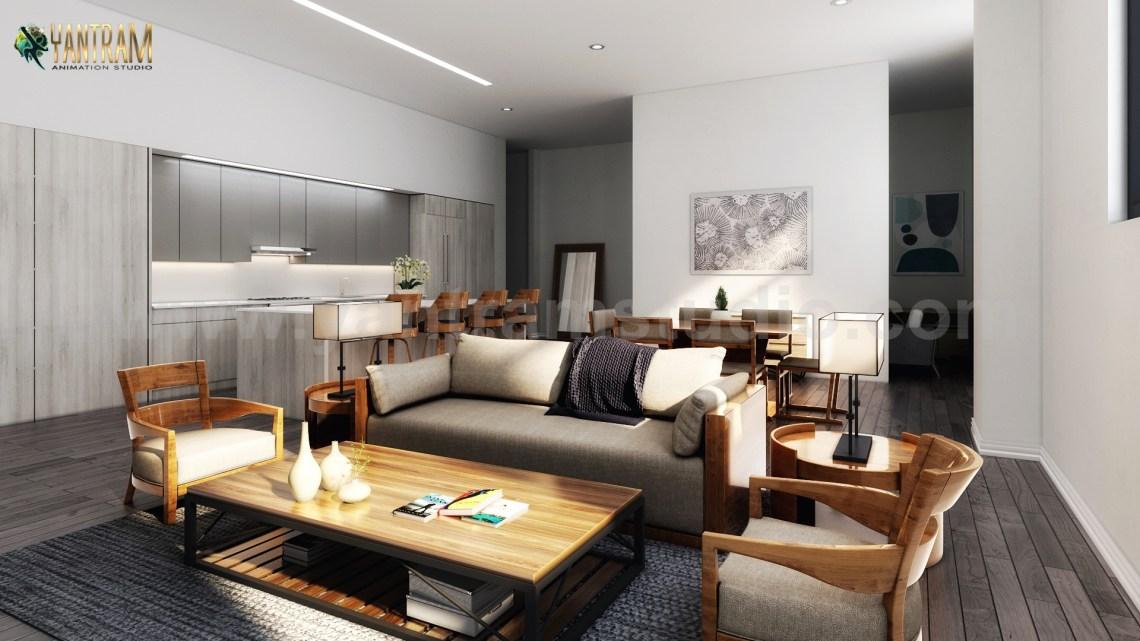 Several 3D Interior Modeling for a Modern Living Kitchen ...