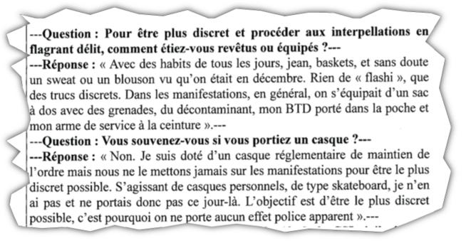 Audition par l'IGPN d'un policier participant aux opérations de maintien de l'ordre, le 8 décembre, à Marseille.