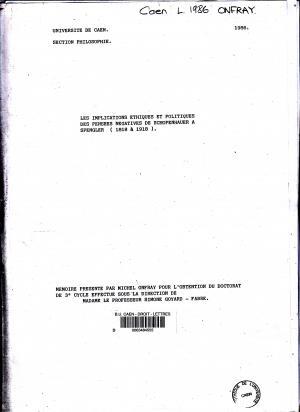 Fac similé de la couverture de la thèse de Michel Onfray