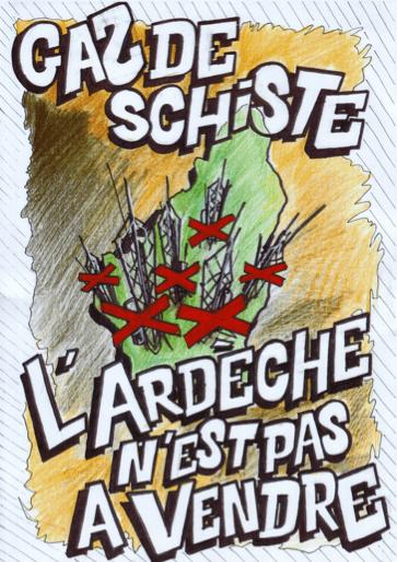 Carte postale du collectif 07 Stop au gaz de schiste.