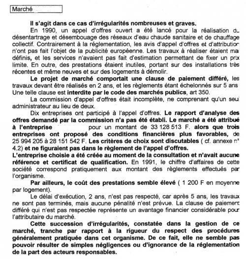 Extrait du rapport Miilos de 1996 sur l'Opac Sud. Le nom de l'entreprise a été effacé par l'organisme.