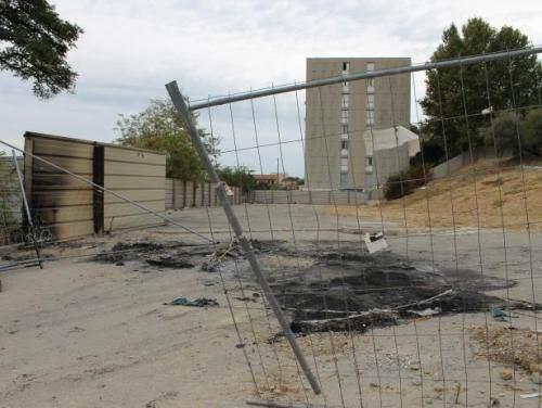 Le campement incendié le 28 octobre, dans le 15e arrondissement de Marseille.