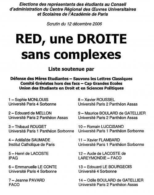 La liste du RED aux élections des représentants du CROUS, en décembre 2006.