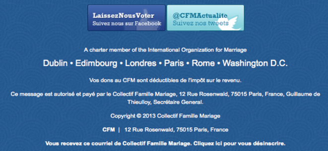 L'International Organization for Marriage, en bas d'un message du CFM