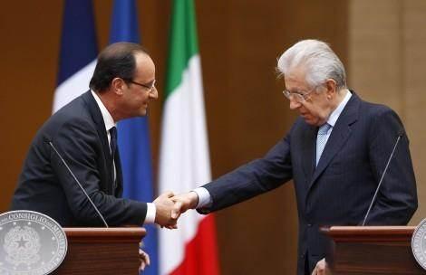 François Hollande et Mario Monti à Rome