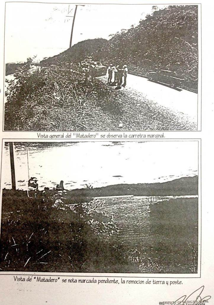 "Fotos del informe judicial del ""Matadero"", arriba del río Huallaga."