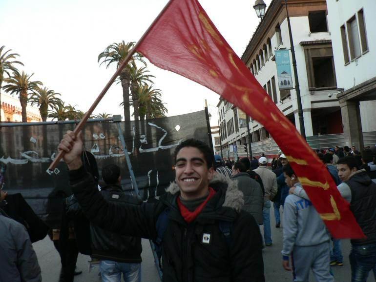 Hamza Haddi  lors d'une manifestation du Mouvement 20-Février à Rabat (2e anniversaire, février 2013)