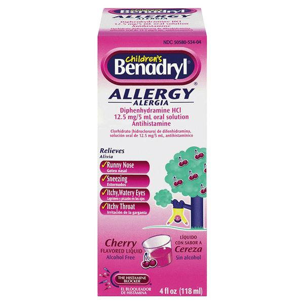 Benadryl Childrens Allergy Cherry Liquid 4 Oz