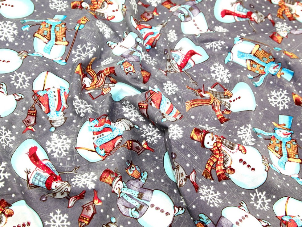 Frosty Snowman Christmas Fabric