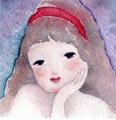 赤いカチューシャの少女~小さな水彩畫原畫 | ハンドメイド ...