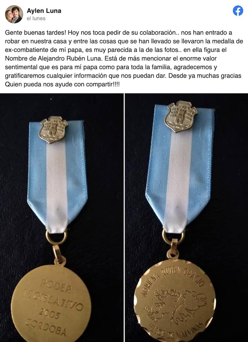 Entraron a robar en su casa y se llevaron hasta su medalla de veterano de Malvinas