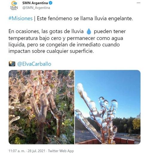 Lluvia engelante: el extraño fenómeno que se vivió en Misiones por las bajas temperaturas