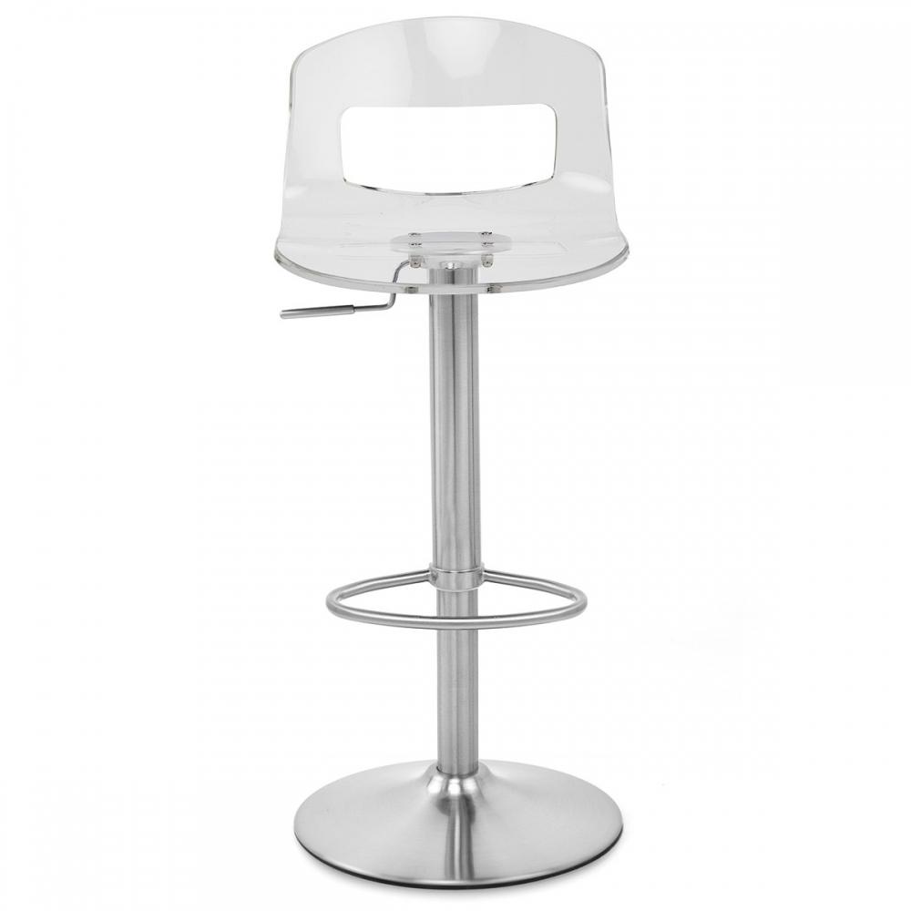 chaise de bar plastique chrome brosse stardust
