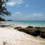 The beach in front of Paradise Bungalows on Koh Rong