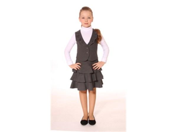 Комплект для девочки Юбкажилетка Смена А21 серый 14c116