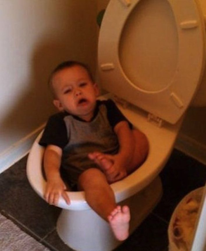 Never let your kid use the toilet alone