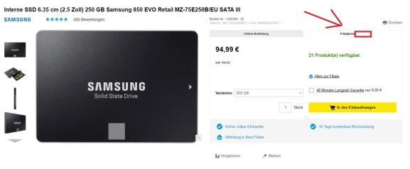 Samsung 850 Evo SSD mit 250GB bei Conrad im Angebot