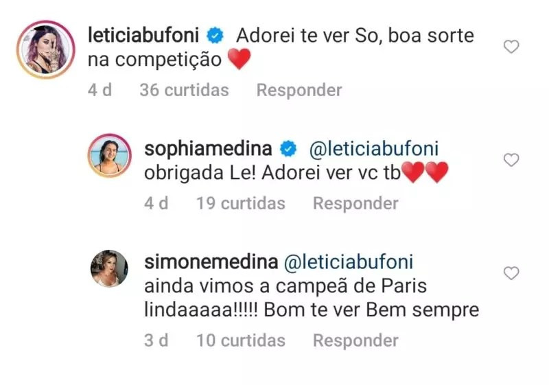 Letícia Bufoni exhibited intimacy with Gabriel Medina's mother and sister in a comment on social media –  Photo: Internet Reproduction