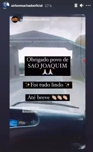 Airton Machado repostou mensagem de agradecimento da banda Garotos de Ouro após live em São Joaquim – Foto: Redes Sociais/Reprodução/ND