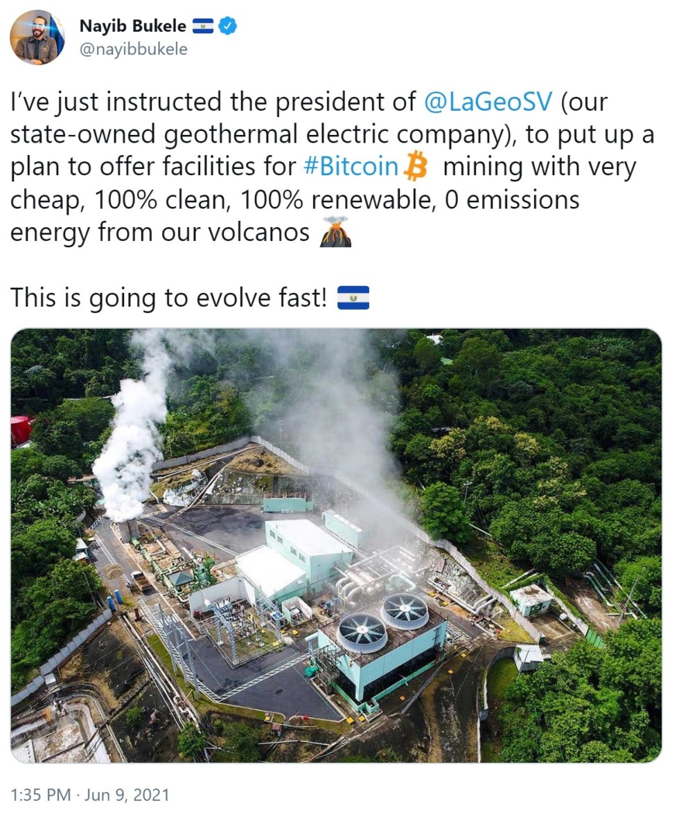 El Salvador to Mine Bitcoin With Energy From Volcanoes: '100% Clean, 100% Renewable, 0 Emissions'