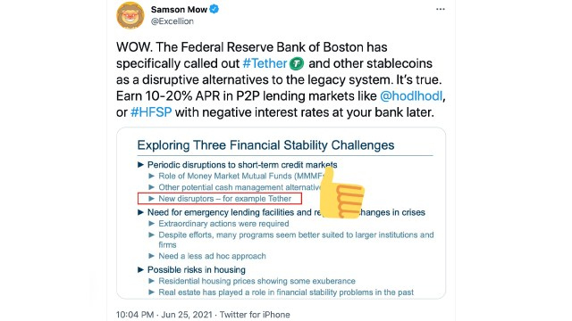 Boston Fed Chairman says Tether and stablecoins may disrupt currency markets