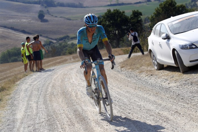 What a triumph: Wout van Aert wins the sweltering edition of Strade Bianche after a powerful demarrage