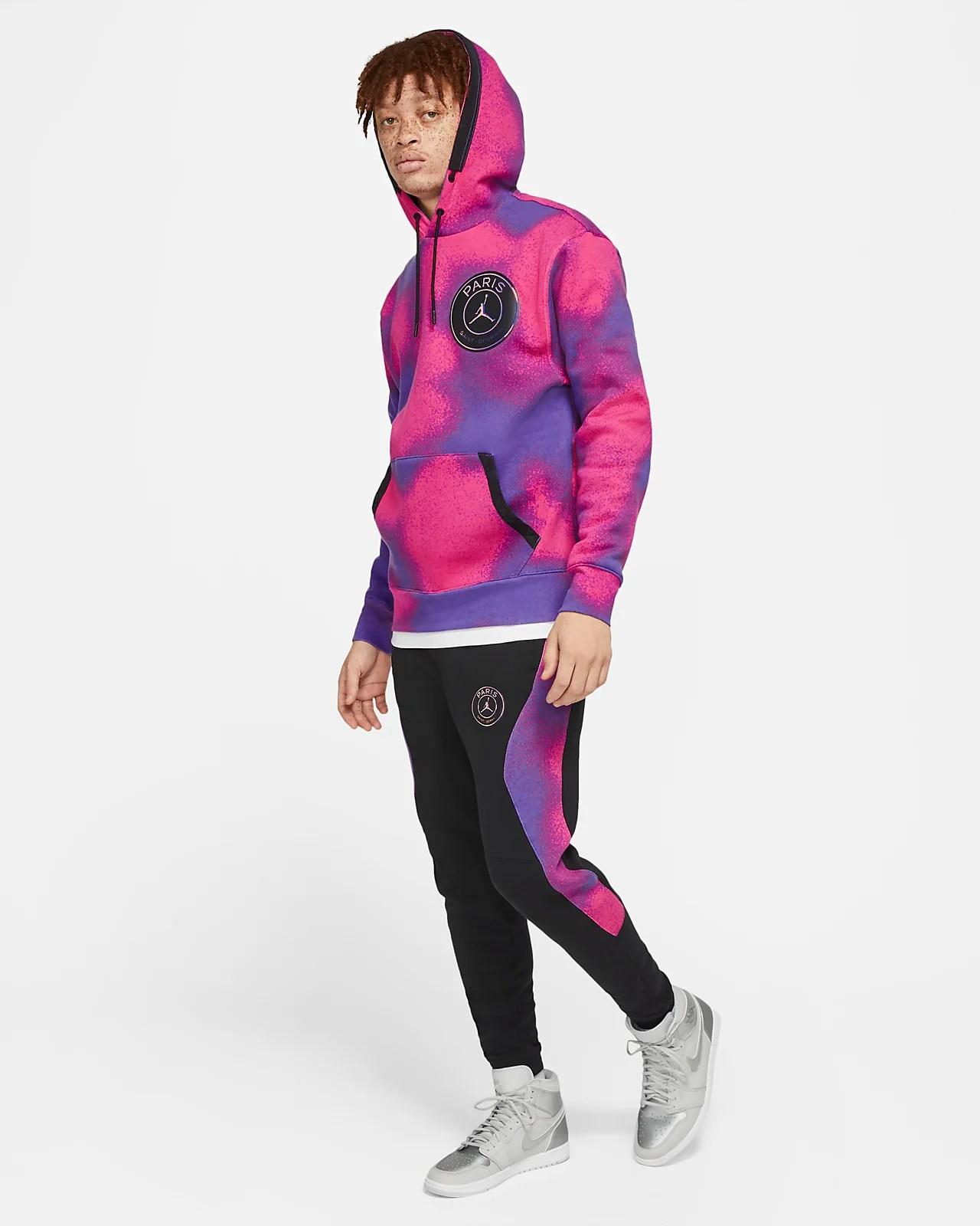 paris saint germain men s printed fleece pullover hoodie