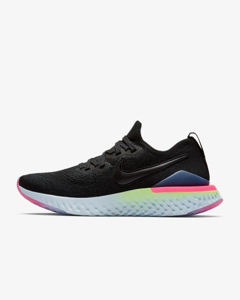 Women's Nike Epic React Flyknit 2 'Black / Lime Blast' .97 Free Shipping