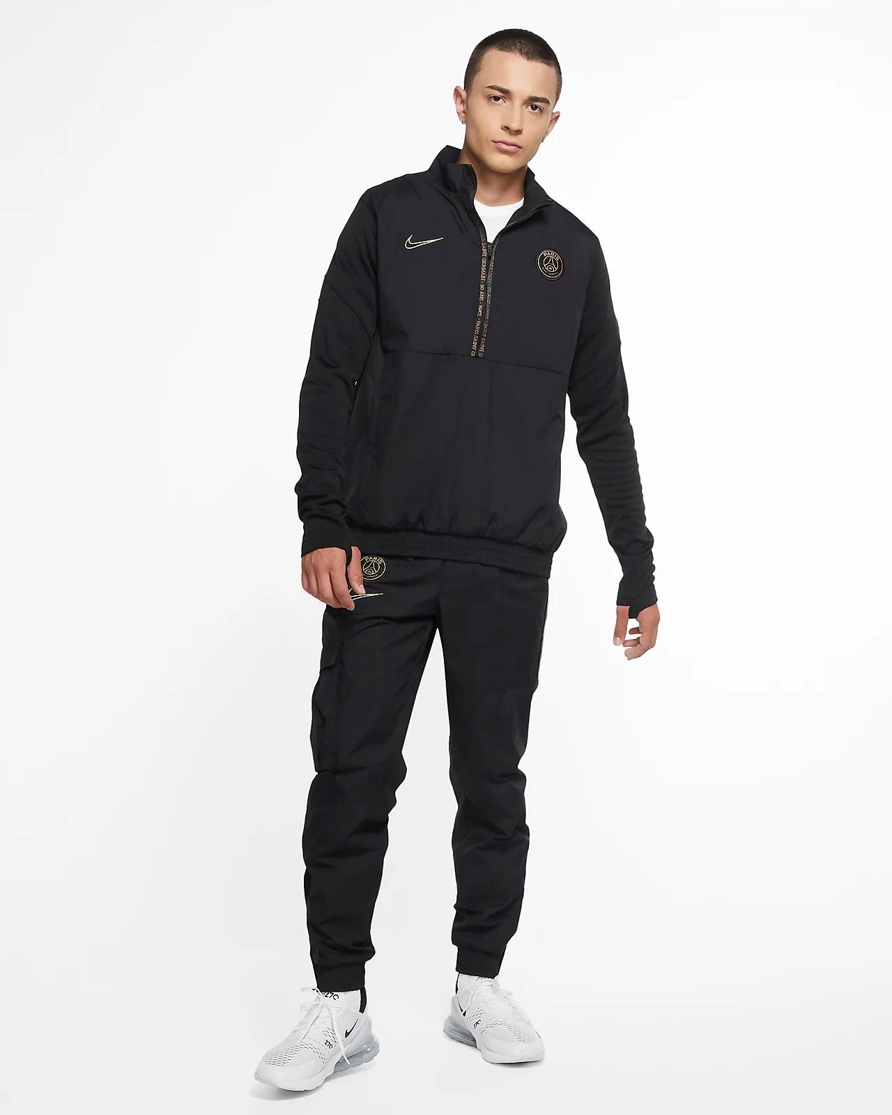 paris saint germain men s 1 2 zip woven football tracksuit jacket