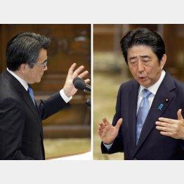 党首討論での岡田代表と安倍首相(C)日刊ゲンダイ