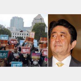 国会前では抗議デモも(C)田中龍作