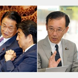 野党は参院選の争点に(左から麻生財務相と安倍首相、谷垣幹事長)/(C)日刊ゲンダイ