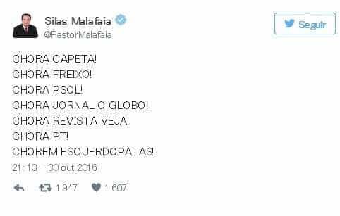 Com 'chora capeta', Silas Malafaia comemora eleição de Crivella