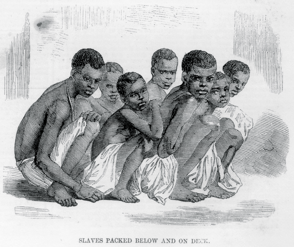 Slaves packed on a slave ship