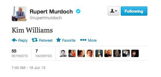 Screenshot verwijderde tweet Rupert Murdoch