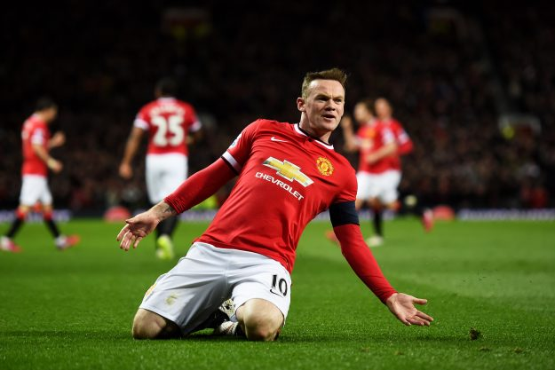 Wayne Rooney of Manchester United celebrates after scoring a goal